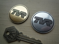 TVR Circular Laser Cut Self Adhesive Car Badge. 36mm or 47mm.