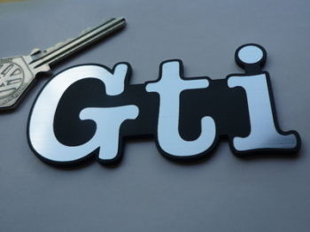 "GTI Text Laser Cut Self Adhesive Car Badge. 3""."