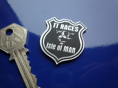 "Isle of Man TT Races Shield Style Laser Cut Self Adhesive Badge. 1.5""."
