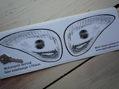 Motorcycle Fairing False Headlamp Light Style Stickers. 175mm Pair.