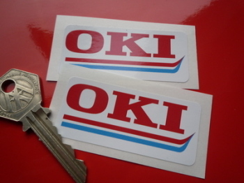"OKI Oblong Sponsors Stickers. 2.5"" or 5.5"" Pair"