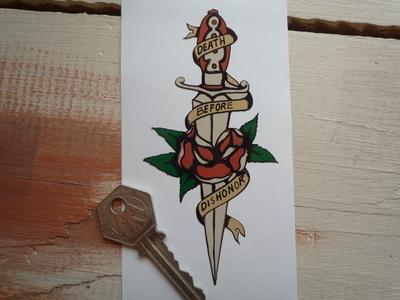 """Death Before Dishonor Dagger & Rose Prison Tattoo Sticker. 4.75""""."""