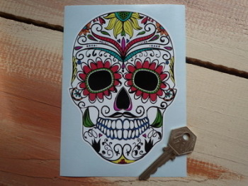 "Day of the Dead Sugar Skull Multi-Coloured Sticker. 6""."