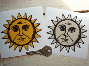 "Sun & Moon Face Sticker. 4""."