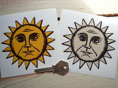 "Sun & Moon Face Sticker. 4""."
