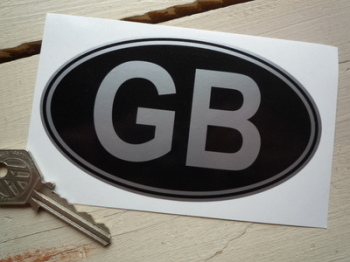 "GB Black & Silver No Rivets ID Plate Sticker. 3"" or 5""."