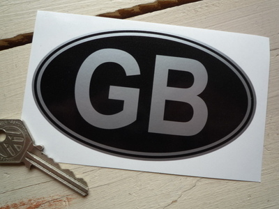 "GB Black & Silver No Rivets ID Plate Sticker. 3"" or 5""."