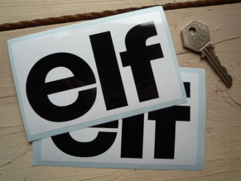"Elf Early Style Black on White Oblong Stickers. 5"" 7"", 9"", 10"" or 11"" Pair."