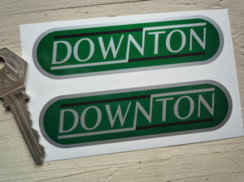 "Downton Green Rounded Oblong Stickers. 4"" Pair."