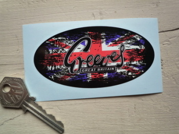 "Greeves Union Jack Fade To Black Oval Sticker. 4""."