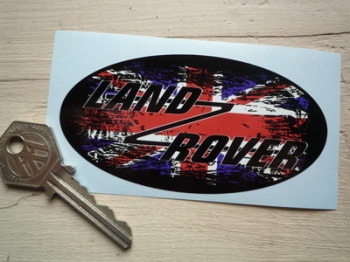 "Land Rover Union Jack Fade To Black Oval Sticker. 4""."