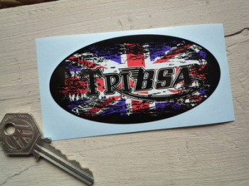 "TriBsa Union Jack Fade To Black Oval Sticker. 4"","