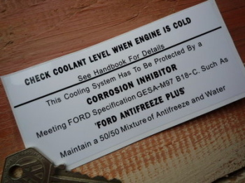 "Check Coolant & Antifreeze Sticker. 5""."