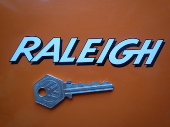 "Raleigh Shaded Cut Text Stickers. 5"" Pair."