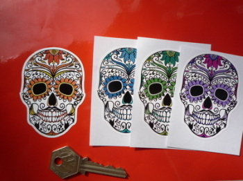 "Day of the Dead Sugar Skull Stickers. 3"" Pair."