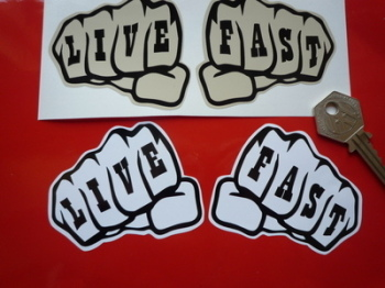 "Live Fast Knuckle Tattoo Stickers. 3"" Pair""."