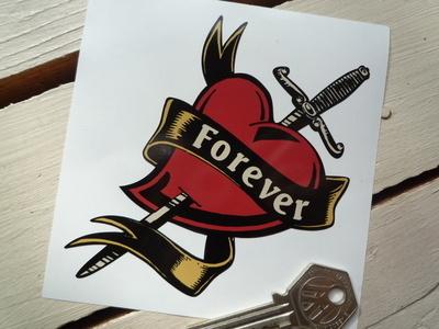 """Forever Sash, Heart & Dagger Tattoo Style Sticker. 4""""."""