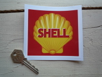 "Shell Retro Style Red Square Sticker. 4"", 6"", or 8""."