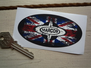 "Marcos Union Jack Fade To Black Oval Sticker. 4""."