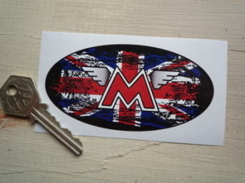 "Matchless Union Jack Fade to Black Oval Sticker. 4""."