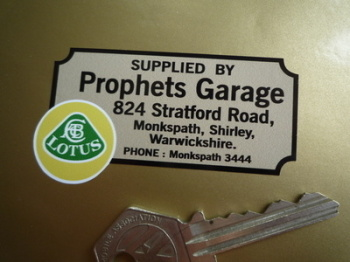 "Lotus Prophets Garage Warwickshire Dealers Sticker. 2.75""."