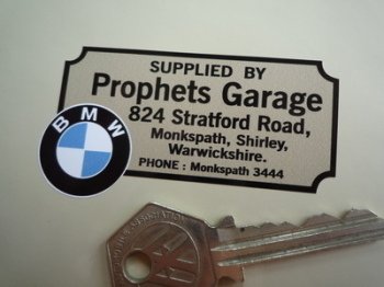 "BMW Prophets Garage Warwickshire Dealers Sticker. 2.75""."