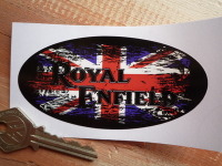 "Royal Enfield Union Jack Fade To Black Oval Sticker. 4""."