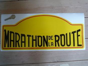 """Marathon De La Route Rally Plate Sticker. 17""""."""