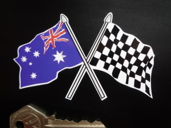 "Crossed Australian & Chequered Flag Sticker. 4""."