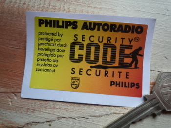 "Philips Autoradio Security Code Protected Window Sticker. 2.75""."