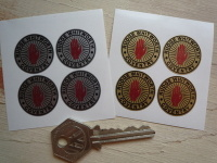 Rudge Whitworth Coventry Wire Wheel Stickers. Set of 4. 25mm.