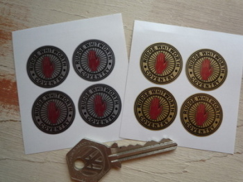 Rudge Whitworth Coventry Wire Wheel Double Line Stickers. Set of 4. 25mm.