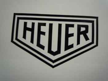"Heuer Plain Cut Vinyl Sticker. 8"" or 10""."