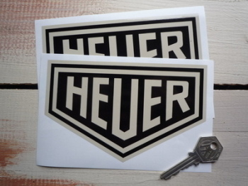 "Heuer Plain Black & Beige Stickers. 4"" or 6"" Pair."