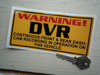 "DVR Dash-Cam Recording Warning Yellow Sticker. 6""."
