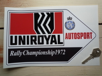 "Uniroyal RAC Autosport Rally Championship 1972 Arrow Sticker. 10""."