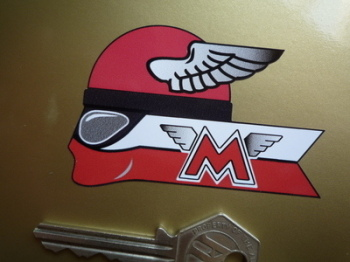"""Matchless Winged Helmet Rider Stickers. 3"""" Handed Pair."""