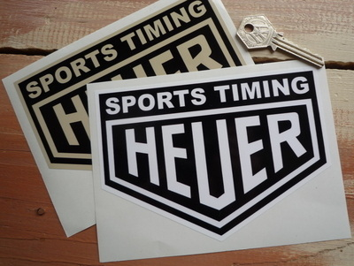 """Sports Timing Heuer Stickers. 4"""" or 6"""" Pair."""