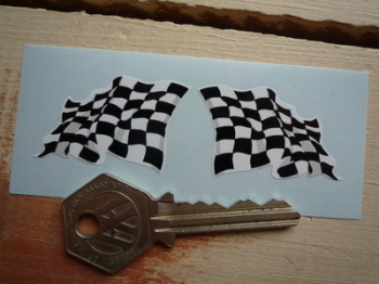 "Chequered Flag Wavy Style Stickers. 1.5"" or 3"" Pair."