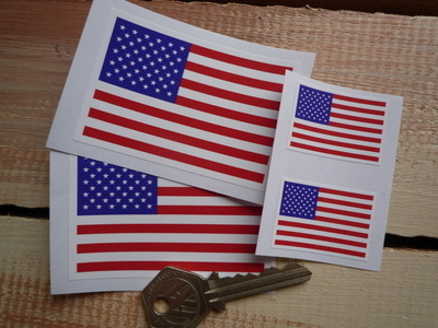 """USA Stars & Stripes Oblong Flag Stickers. 1.5"""" or 3"""" Pair."""