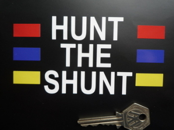 "Hunt The Shunt James Hunt Helmet Sticker. 5""."
