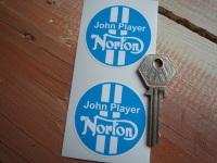 "Norton John Player JPS Blue & White Stickers. 2"" Pair."