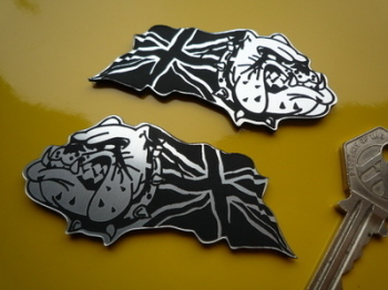"British Bulldog & Union Jack Self Adhesive Bike/Car Badges 3"" Pair."