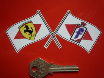 "Pininfarina & Ferrari Crossed Flag Sticker. 5""."