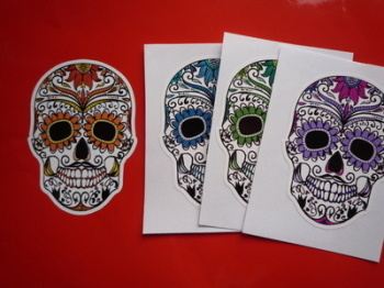 "Day of the Dead Sugar Skull Sticker. 7""."
