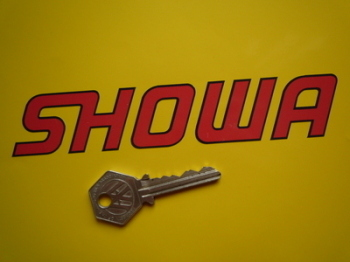 """Showa Cut Text Red with Black Outline Stickers. 6"""" Pair."""