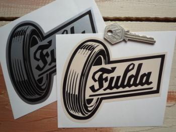 "Fulda Tires Shaped Stickers. 5"" Pair."