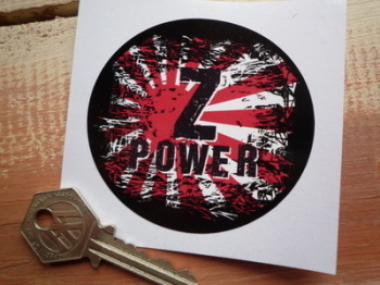 "Z Power Kawasaki & Datsun Fade To Black Hinomaru Style Sticker. 3""."