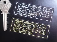 Triumph Engineering USA Safety Standards Gold or Silver on Clear Sticker. 3