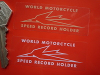 Triumph Speed Record Holder Gold, Silver, or White on Clear Sticker. 2.75